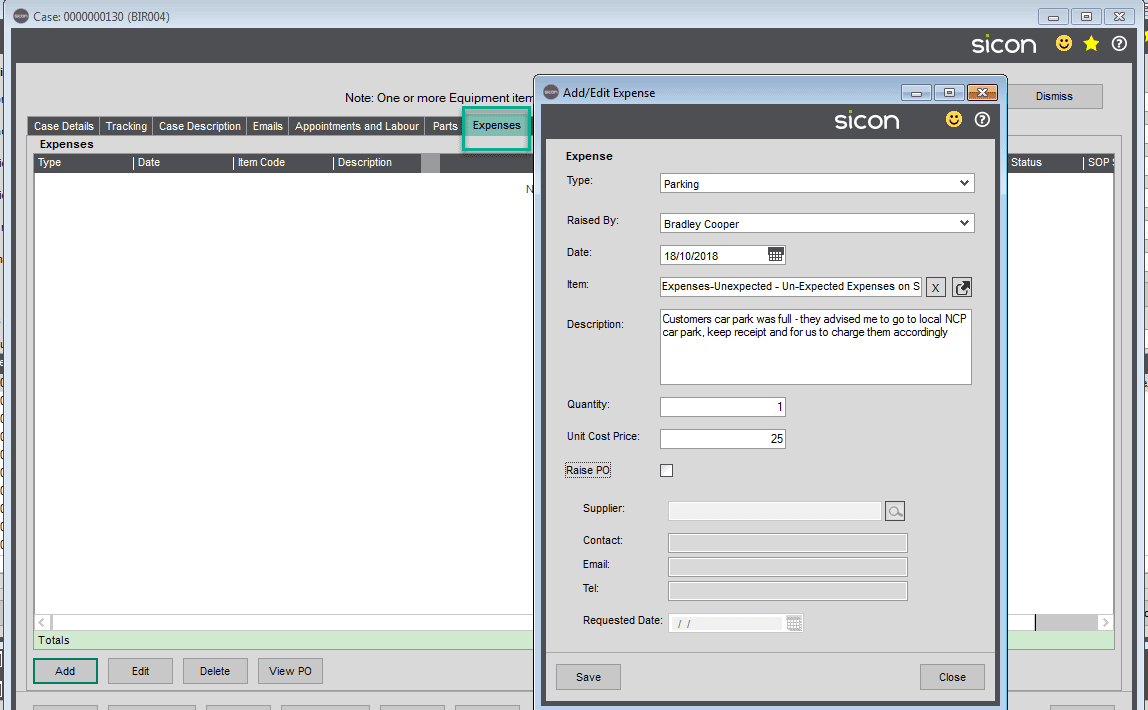 59. Sicon Service Help and User Guide - Expenses TAB