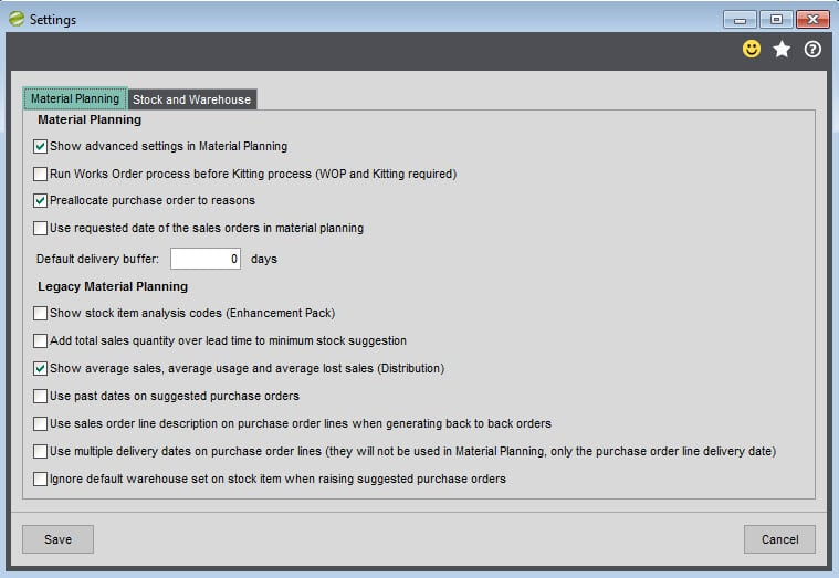 Sicon Material & Resource Planning Help and User Guide - MRP Settings Material Planning tab