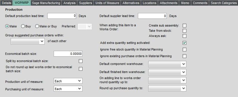 Sicon Material and Resource Planning Help and User Guide WOP MRP tab on Stock Item