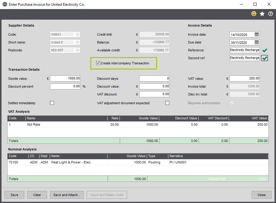 Sicon Intercompany Help and User Guide - 6.1 Enter Purchase Invoice