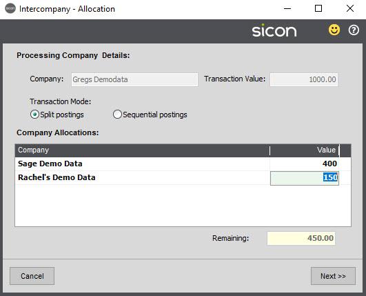 Sicon Intercompany Help and User Guide - 6.1 Intercompany Allocation