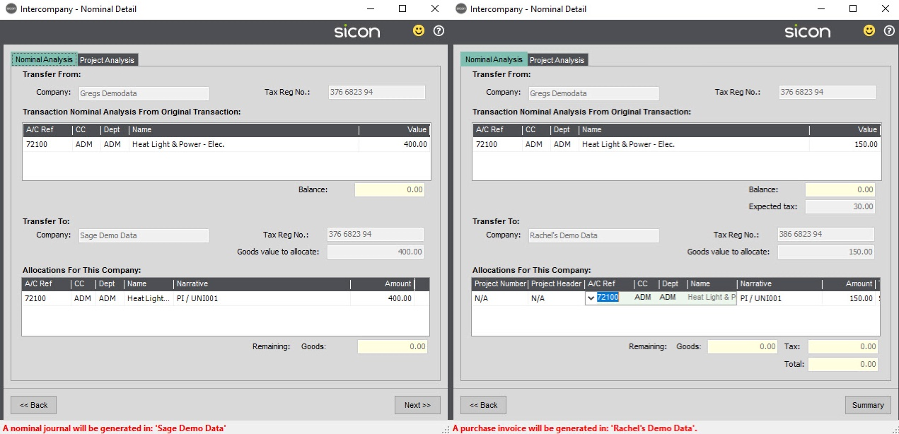 Sicon Intercompany Help and User Guide - 6.1 Nominal Detail Company 1 & 2