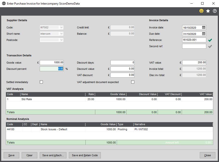 Sicon Intercompany Help and User Guide - 6.3 Enter Purchase Invoice
