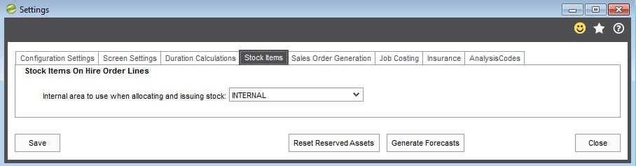 7. Hire Manager Stock Item Tabs in Settings