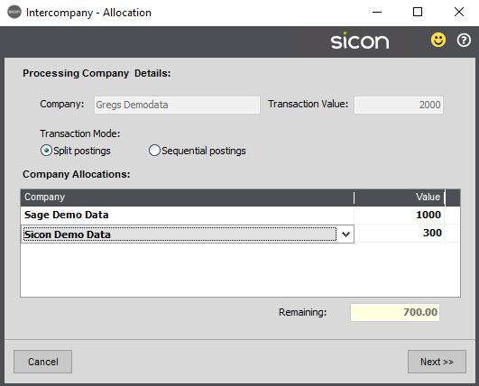 Sicon Intercompany Help and User Guide - 7.1 Intercompany Allocation