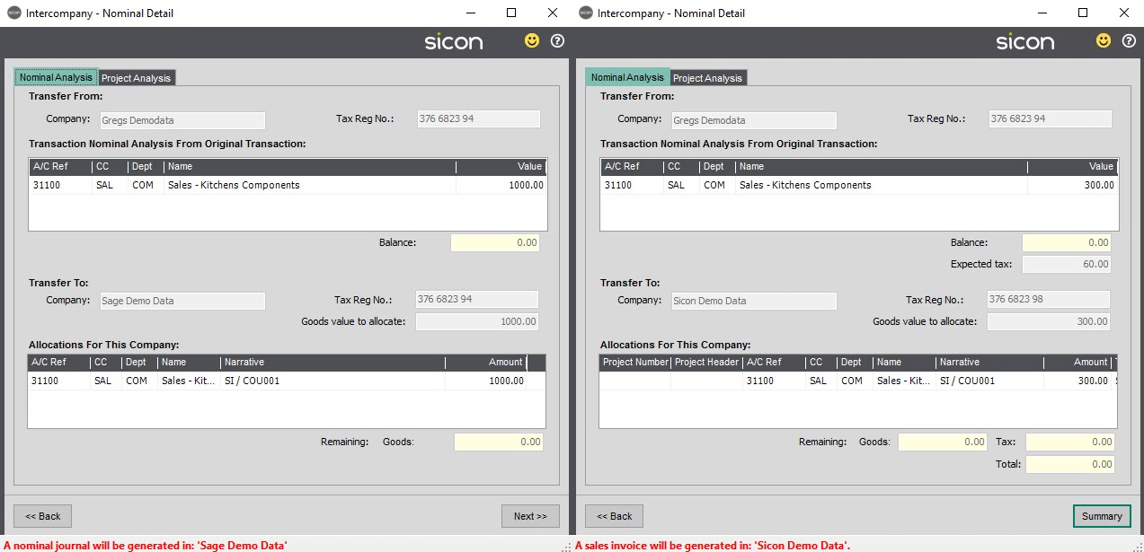 Sicon Intercompany Help and User Guide - 7.1 Nominal Detail Company 1 & 2