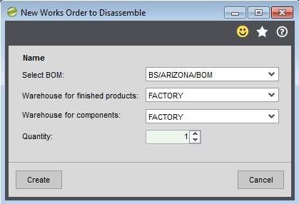 Sicon Works Order Processing Help and User Guide works order to disassemble