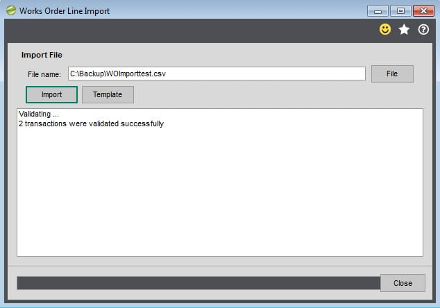 Sicon Works Order Processing Help and User Guide import file validated