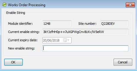 Sicon Works Order Processing Help and User Guide Enable Module