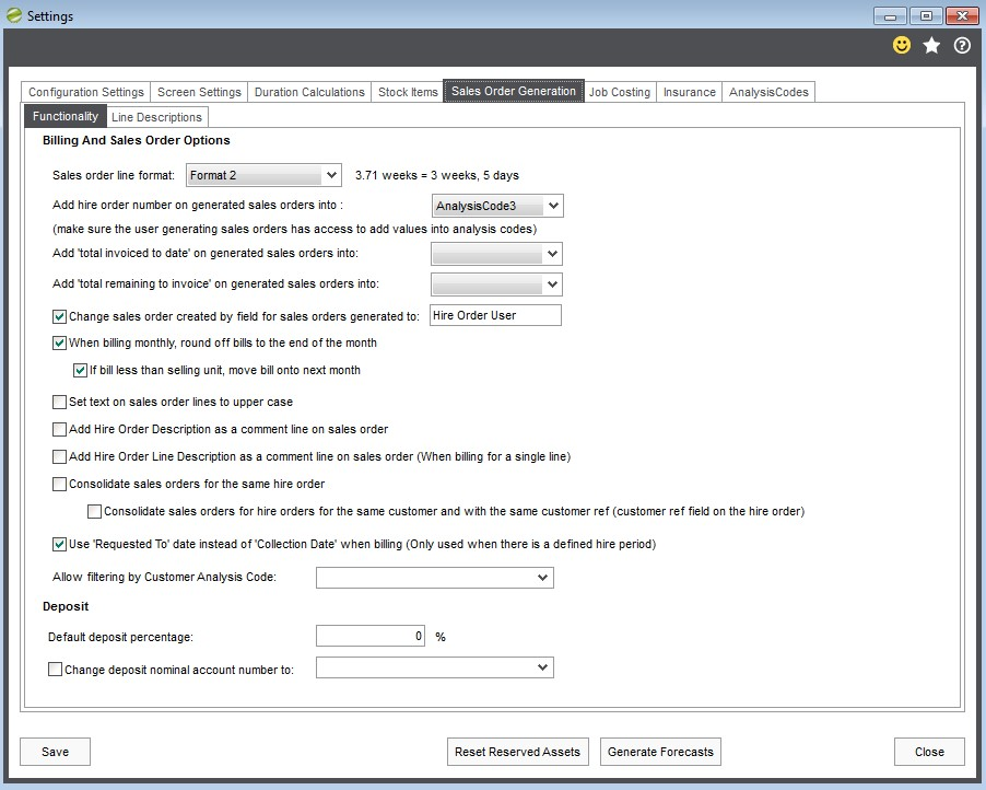 8. Hire Manager Sales Order Generation Settings