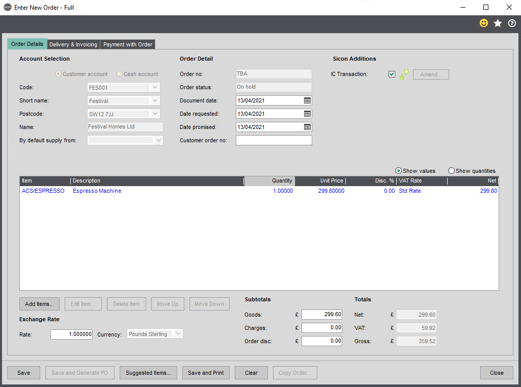 Sicon Intercompany Help and User Guide - 8.1 Enter New Order