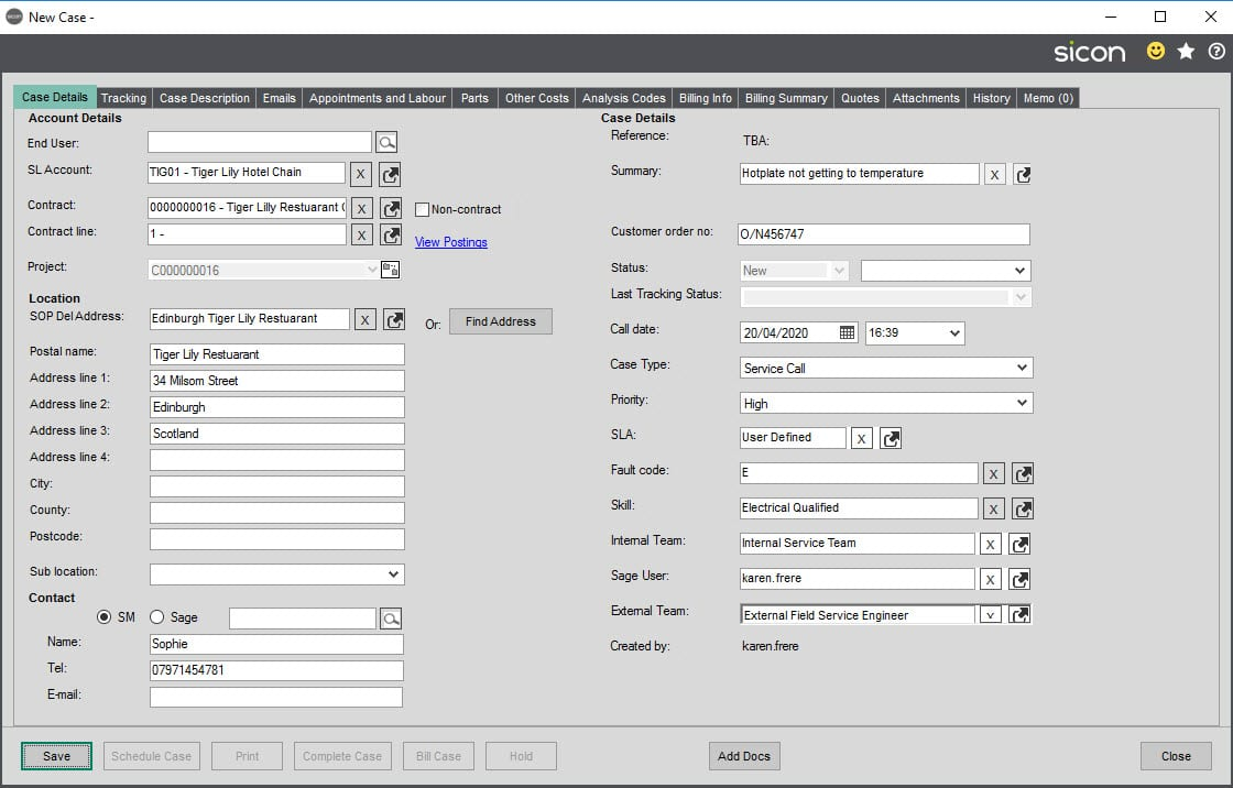 Sicon Service Help and User Guide - 8.2 Case Details screen 1