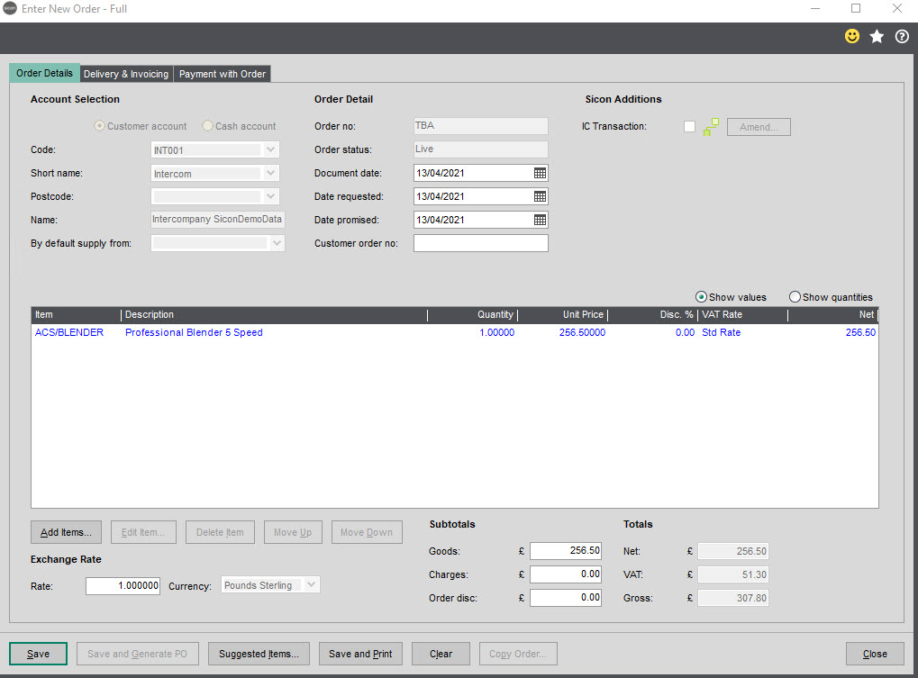 Sicon Intercompany Help and User Guide - 8.2 Enter New Order