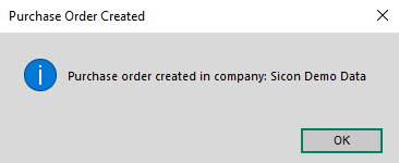 Sicon Intercompany Help and User Guide - 8.2 Purchase Order Created