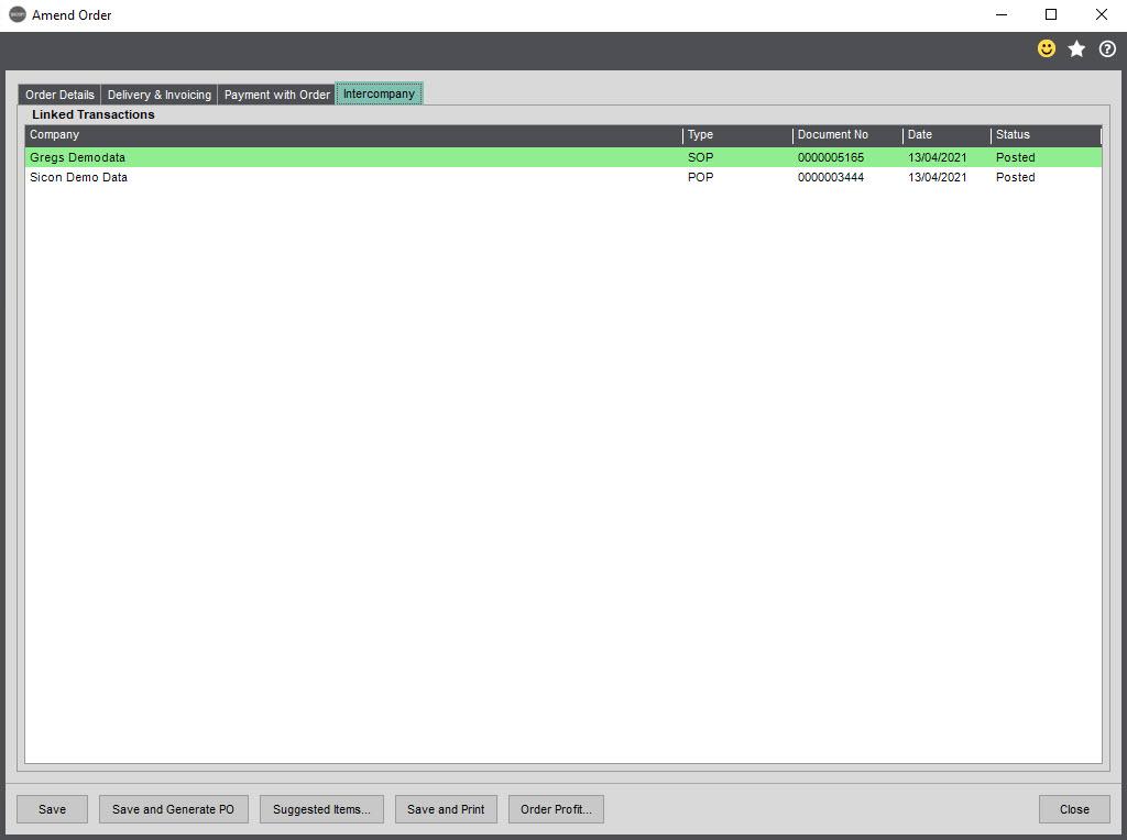 Sicon Intercompany Help and User Guide - 8.2 SO Intercompany tab