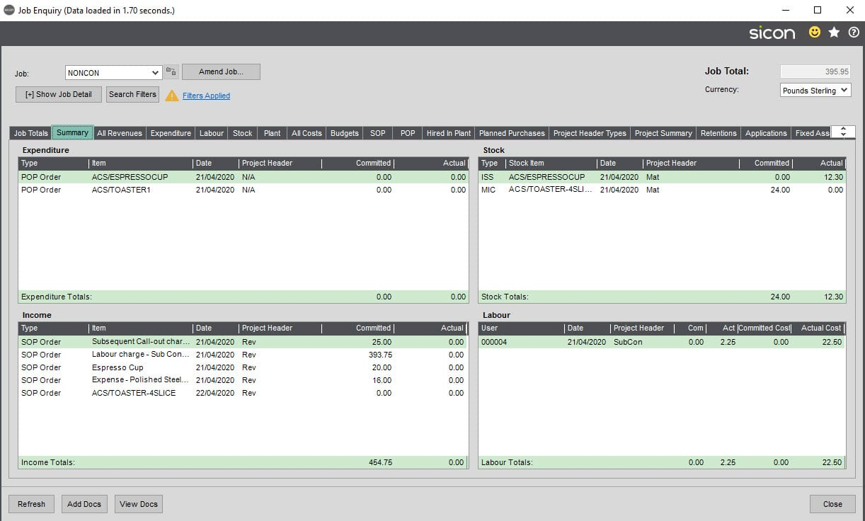 Sicon Service Help and User Guide - 8.25 Billing Summary screen 4