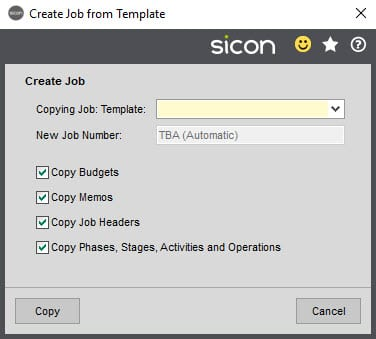 Sicon Job Costing Help and User Guide - Create Job from Template