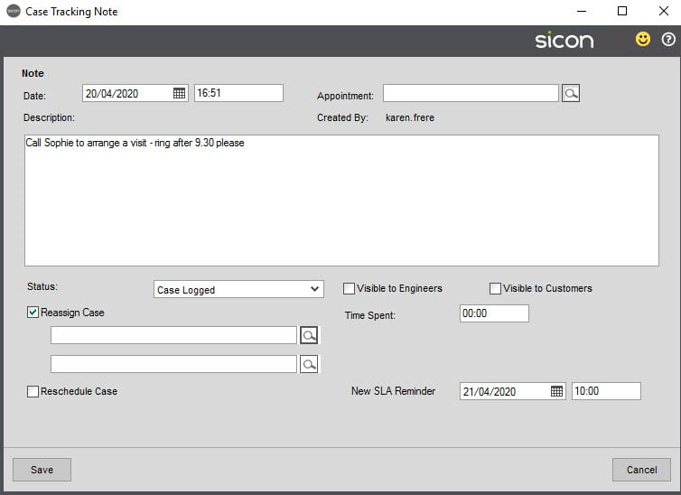 Sicon Service Help and User Guide - 8.3 Tracking screen 2
