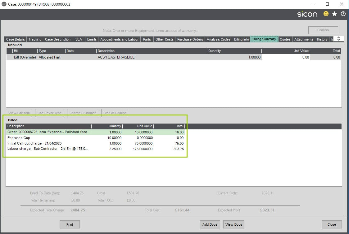Sicon Service Help and User Guide - 8.34 Viewing Billed Items screen 1