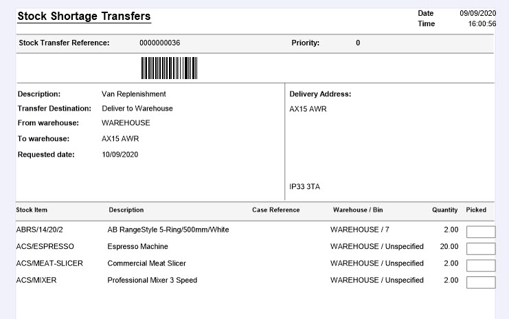 Sicon Service Help and User Guide - Equipment -8.36 Stock Shortage Transfer screen 4