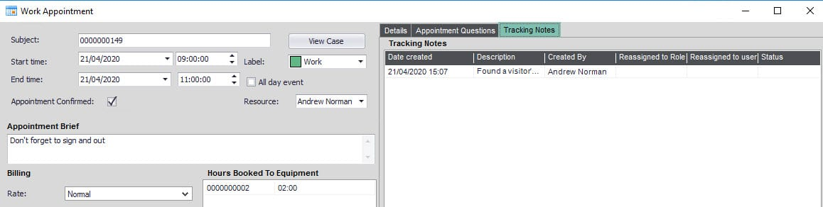 Sicon Service Help and User Guide - 8.7 Tracking Notes Tab screen 1