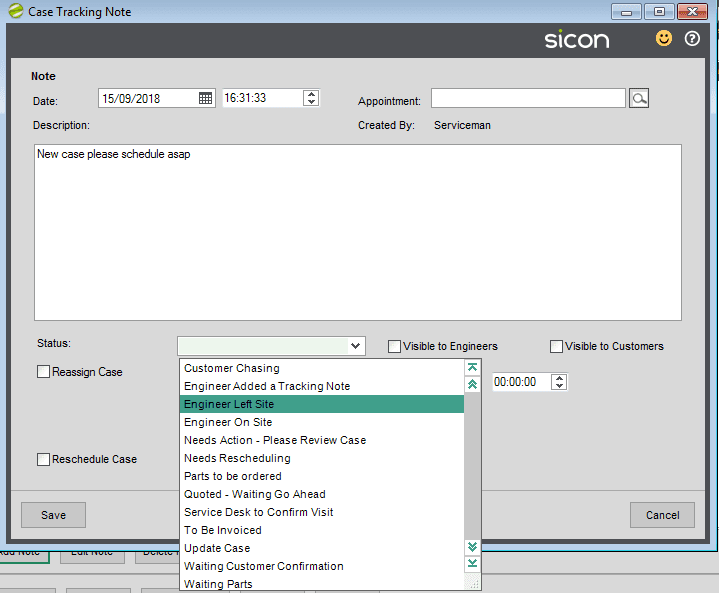 86. Sicon Service Help and User Guide - Tracking