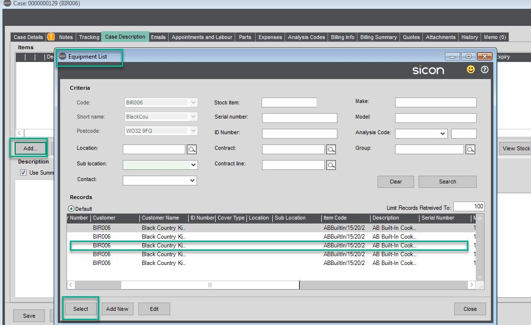 87. Sicon Service Help and User Guide - Case Description
