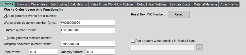 Sicon Works Order Processing Help and User Guide - Settings Option Tab