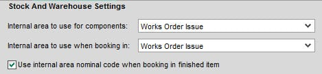 Sicon Works Order Processing Help and User Guide - stock and warehouse options tab on settings
