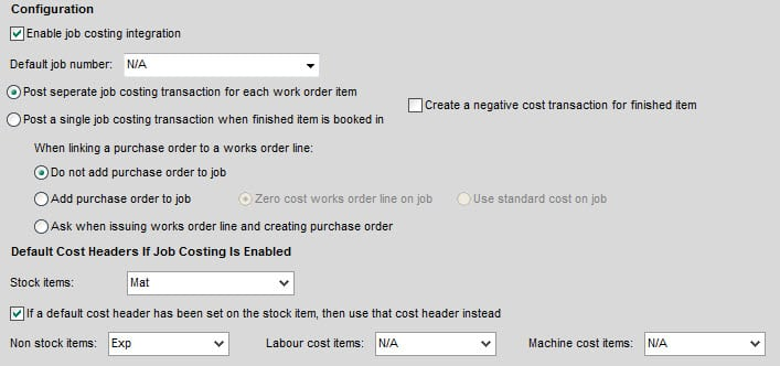 Sicon Works Order Processing Help and User Guide Job Costing Configuration Settings