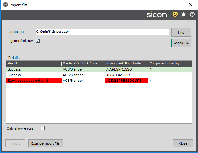 Sicon Kitting Help and User Guide - Import Kits Picture