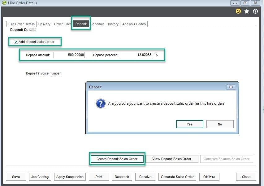 Hire Order Deposit sales order process