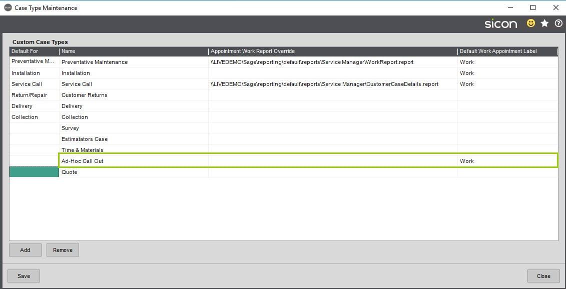 Sicon Service Help and User Guide - Ad-Hoc screen 2