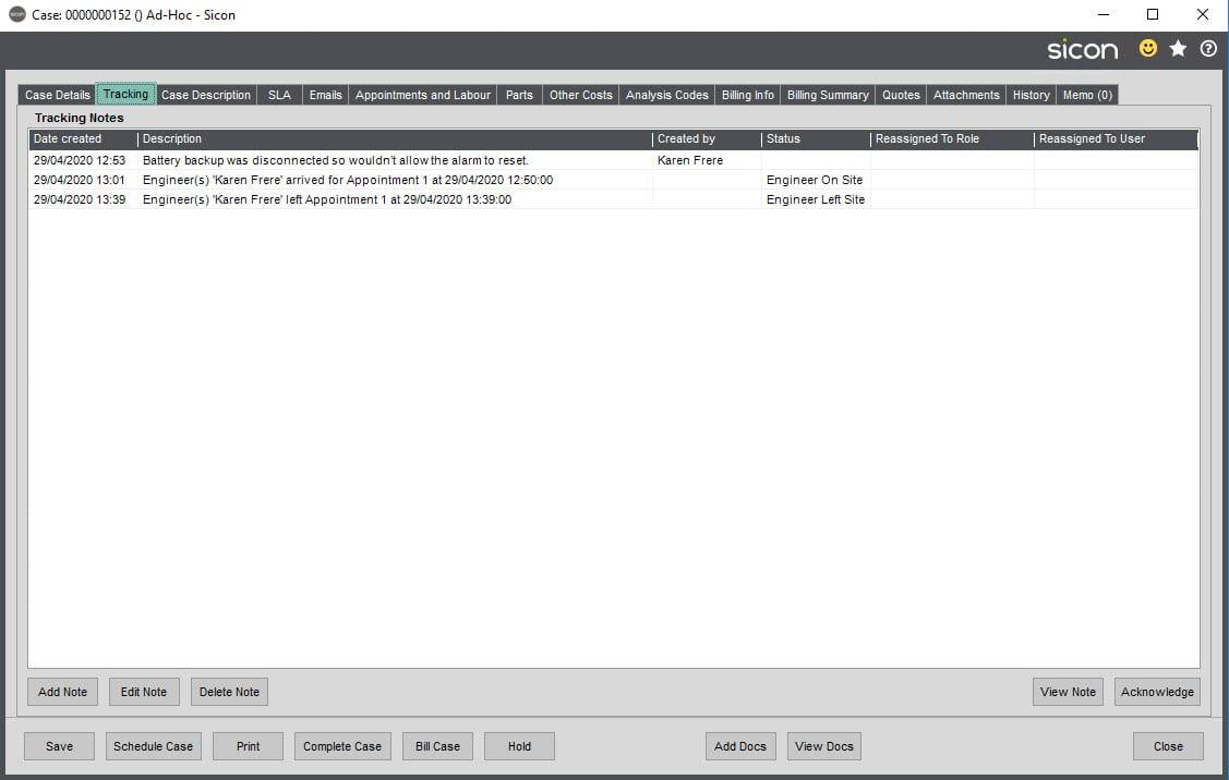Sicon Service Help and User Guide - Ad-Hoc screen 22