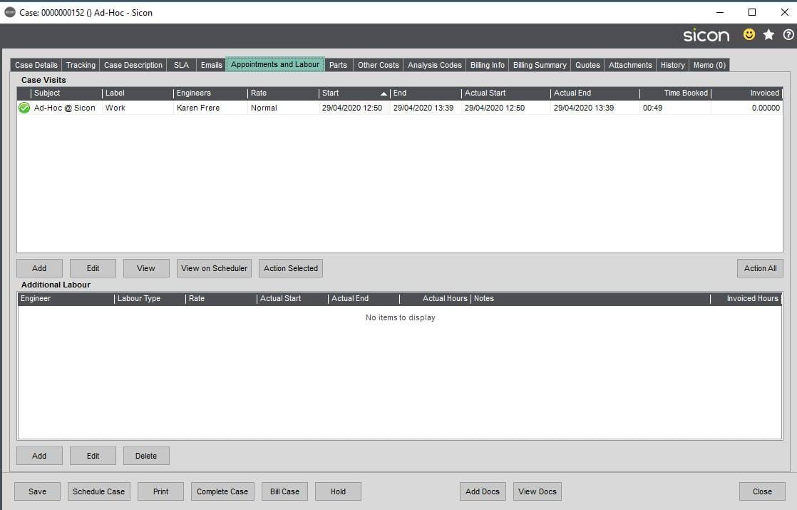 Sicon Service Help and User Guide - Ad-Hoc screen 23