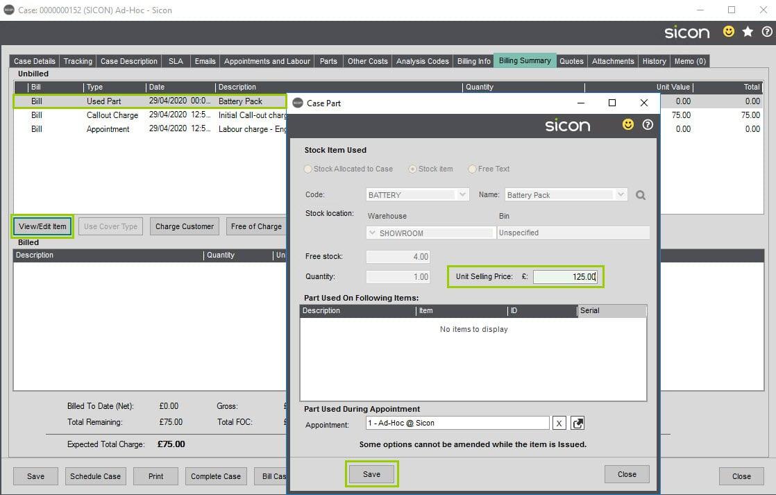 Sicon Service Help and User Guide - Ad-Hoc screen 25