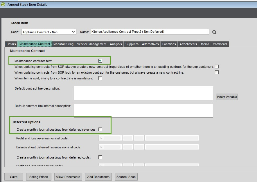 Sicon Contract Manager Help and User Guide Amend Stock Item Maintenance Contract Tab
