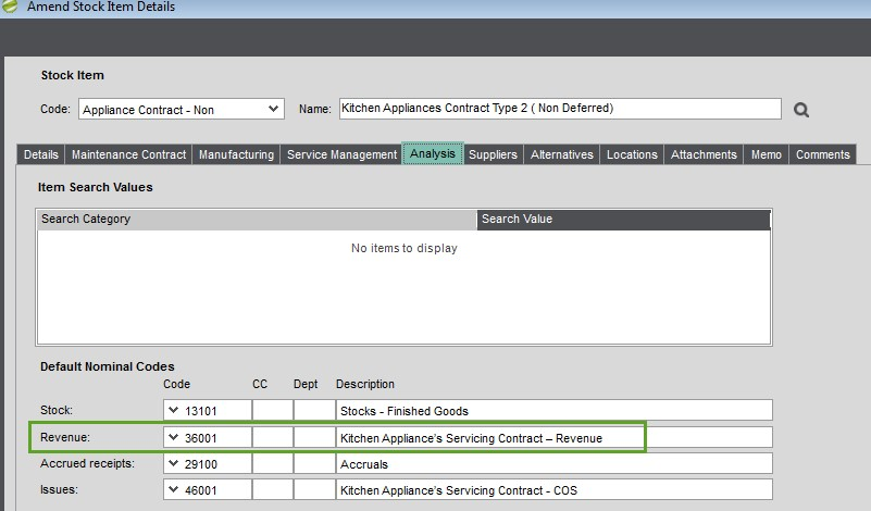 Sicon Contract Manager Help and User Guide Amend stock Item details Analysis Tab