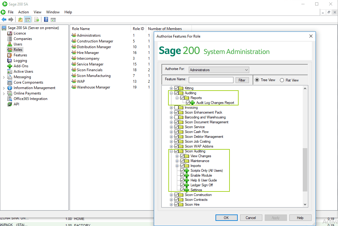 Sicon Audit Log Help and User Guide - Sage Admin Features
