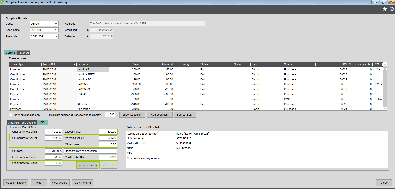 CIS SUpplier Transaction Enquiry Screen