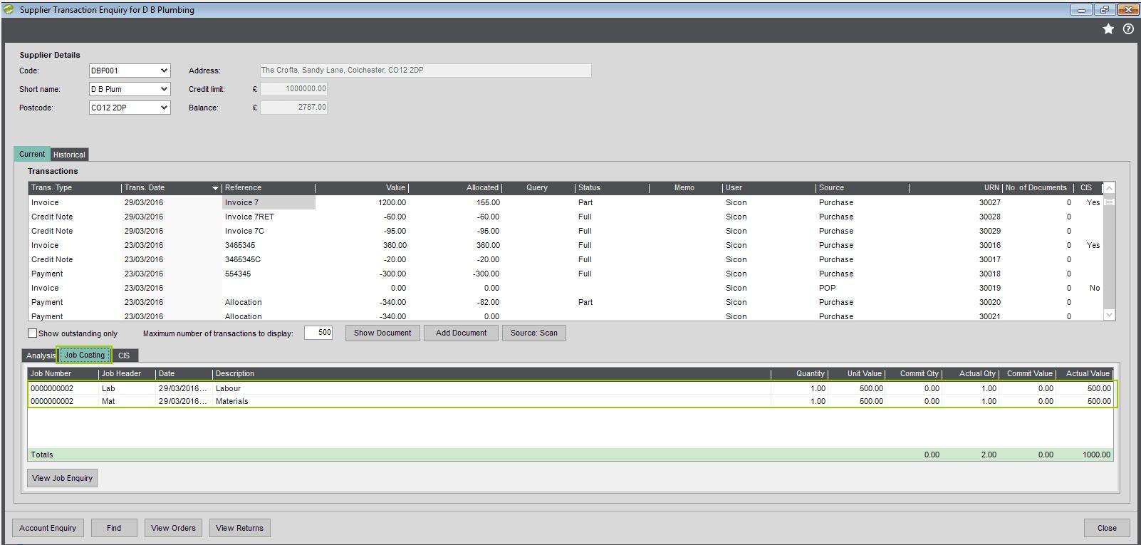 CIS Supplier Transaction