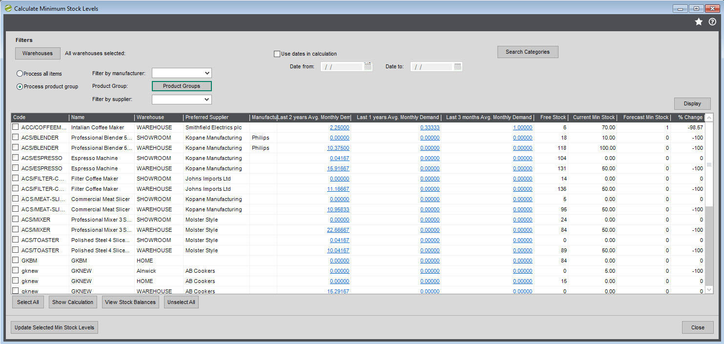 Sicon Distribution Manager Help and User Guide Calculate Min Stock Levels