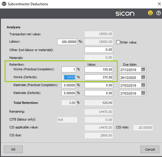 Sicon Construction Help and User Guide - Capped Retentions