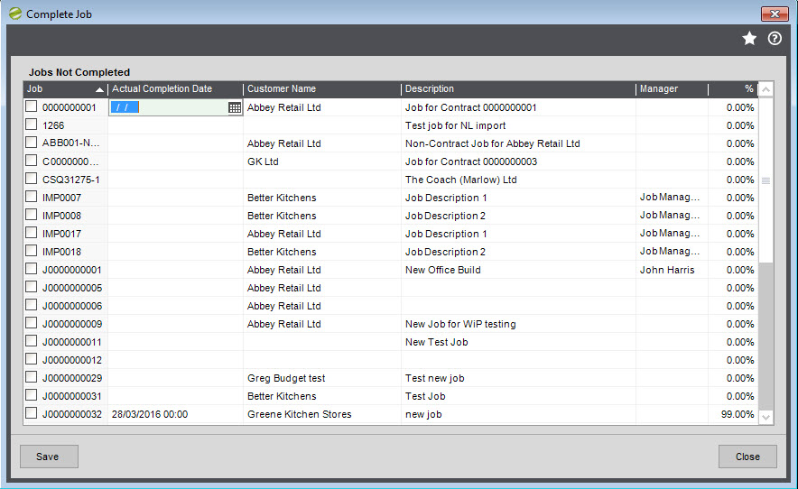 Sicon Job Costing Helop and User Guide Complete Job Screen