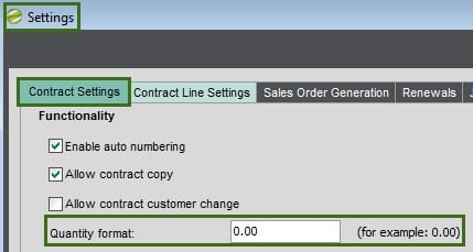 Sicon Contract Manager Help and User Guide Contract Settings Quantity format