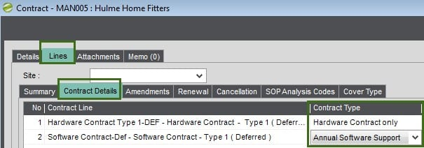 Sicon Contract Manager Help and User Guide Contract Type Maintenance as displayed on screen
