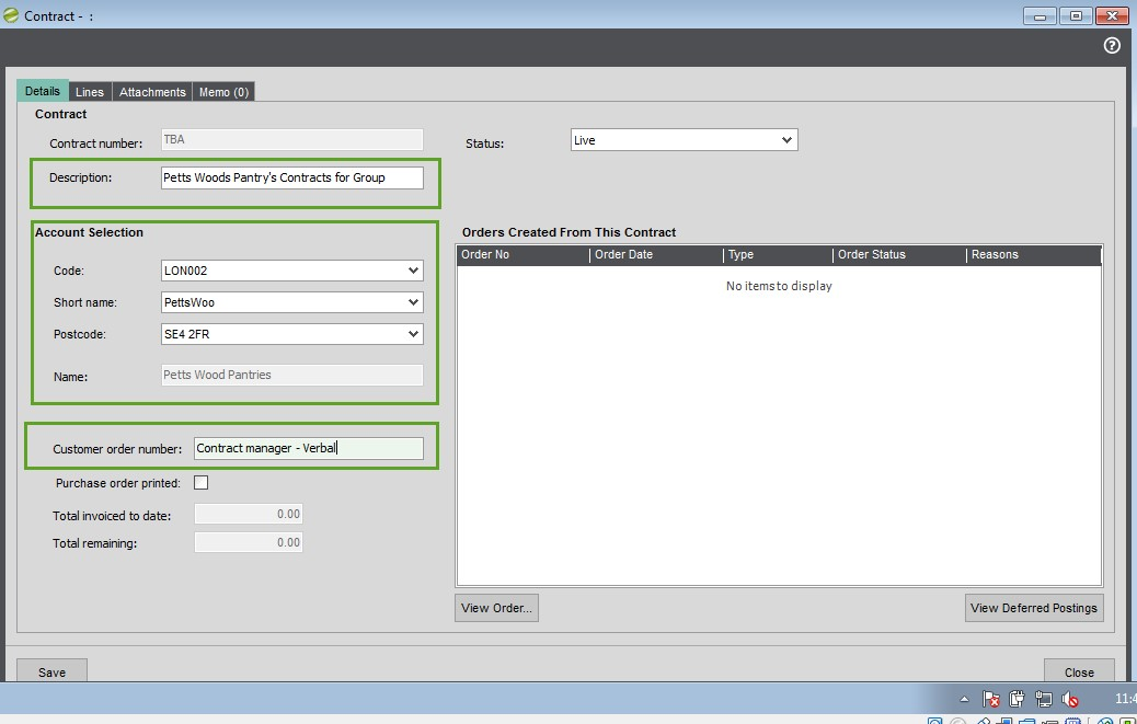 Sicon Contract Manager Help and User Guide Creating Contract details tab