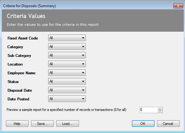 Criteria for Disposals (Summay) Report