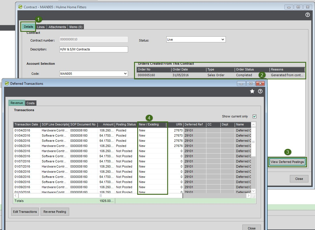 Sicon Contract Manager Help and User Guide Deferred Revenue screen shot