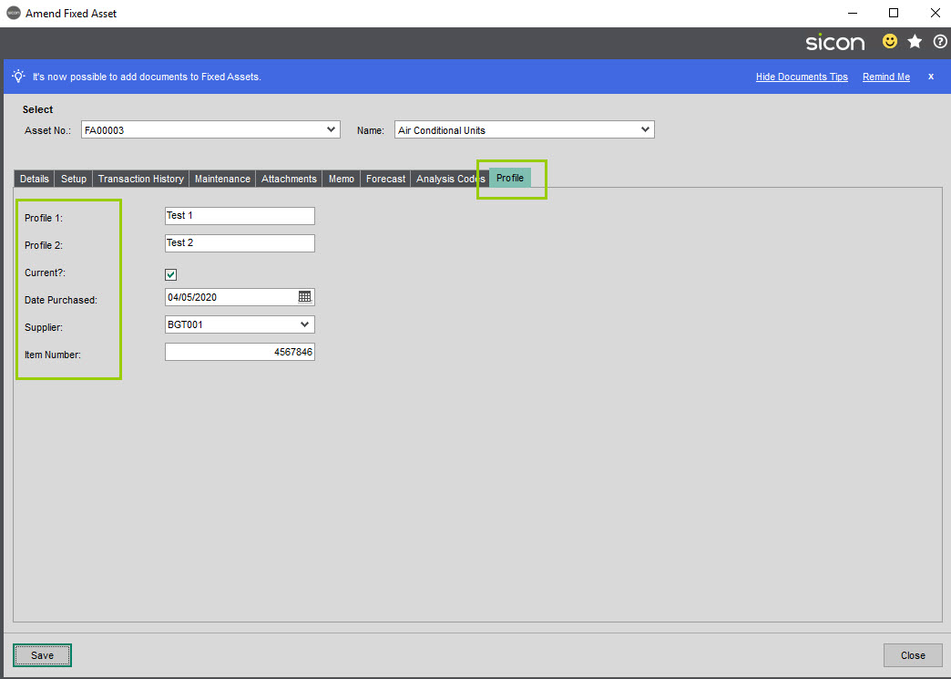 Sicon Service Help and User Guide - Equipment -Fixed Asset tab